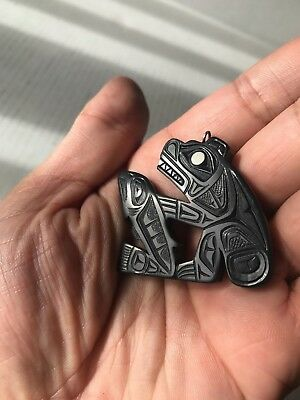 Northwest Coast Native Art (Haida) Argillite Bear and Salmon  Pendant