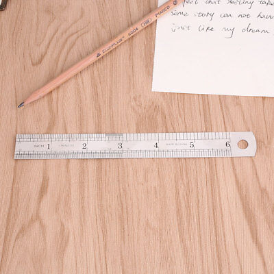 15cm 6 inch Stainless Steel Metal Straight Ruler Precision Double Sided Silver