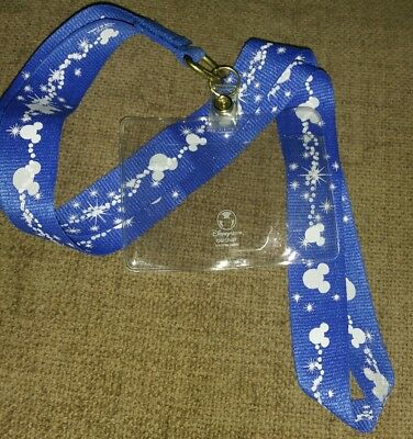 ❤️ DISNEY Pin Trading Lanyard Blue with White Mickey Icons Card Holder & Clip