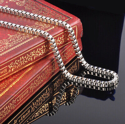 20'' Women's Men's Stainless Steel Silver Box Chain Necklace 3mm Wide