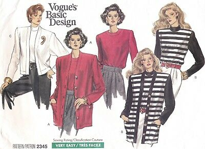 Vtg 80s UC Vogue Basic Design Pattern 2345 Cardigan & Top Sz 8 10 12 + Petite