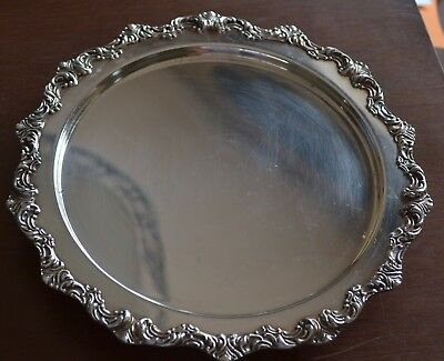 """W & SB Blackington EPC Silver Plate 8"""" Round Floral Trim footed Tray"""