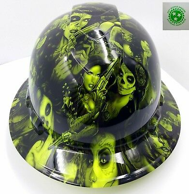 FULL BRIM Hard Hat custom hydro dipped , NEW GREEN TATTOO BABES BANDITO NEW
