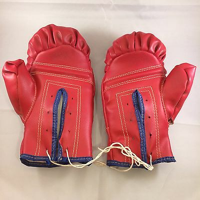 Vintage Youth Kids Red Leather Boxing Gloves As Is