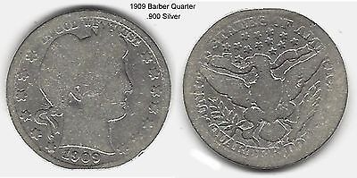 US 1909 Barber Quarter .900 Silver Coin ... Take A Look !!
