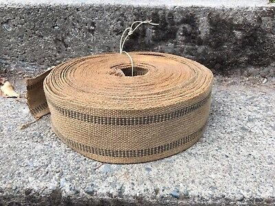 Vintage Chair Webbing Heavy Burlape With Black Lines