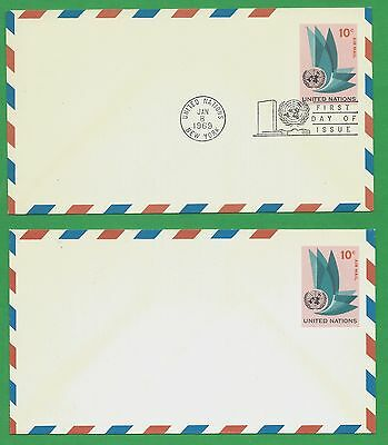 UN  NEW YORK UC-8 Air Mail Letters 2 x FDI and Mint Cancelled Jan 8/1963