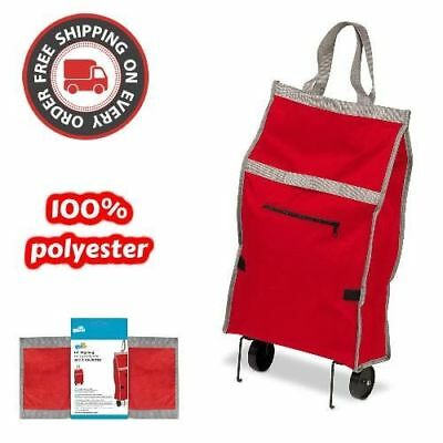 Red Fabric Rolling Bag Cart with Handle For Shopping Tote Grocery Wheel Trolley