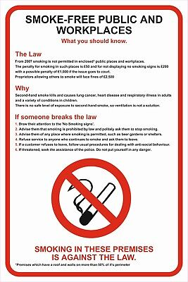 No Smoking  The Law A5/A4/A3 Sticker Or Foamex Health & Safety Prohibition Sign