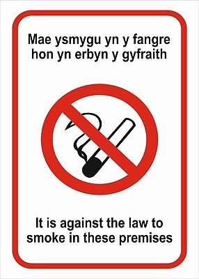 Welsh No Smoking A5/a4/a3 Sticker Or Foamex Health & Safety Prohibition Sign