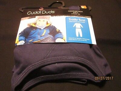 new BOYS TODDLER cuddl duds COMFORTECH 2 PC. SET polyester TAGLESS navy 2T-3T