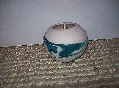 "Nemadji Clay Pottery Vase Moose Lake Minnesota 1929-2001 Green Ivory Swirl 3"" T"