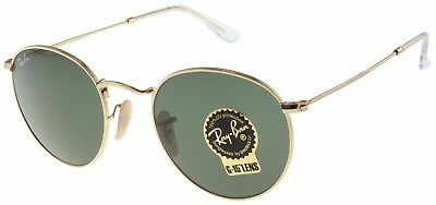 Ray-Ban Round Metal Sunglasses RB3447 001 Gold | Green Classic G-15 Lens | 50mm