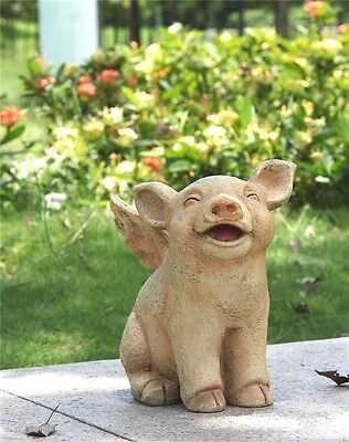 When Pigs Fly Seated Pig With Wings Statue Home Or Garden Decor Free Shipping