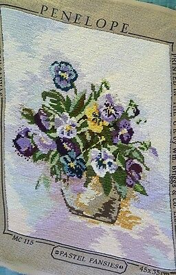 Finished Handmade Needlepoint Tapestry Floral Fabric Pastel Pansies Pillow Chair