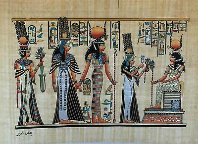 #46 Nefertari presented by Isis to Hathor HAND PAINTED EGYPTIAN ART ON PAPYRUS
