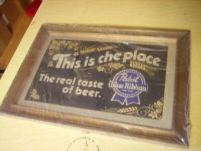 """Pabst Blue Ribbon Beer """"This is the Place"""" 20 1/2"""" x 14 1/2"""" Mirror Vintage 1986"""