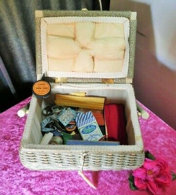 Vintage Sewing Basket Box & Contents Green Sizzors Cotton Reels Tape Craft Items