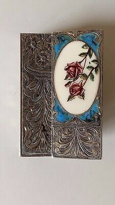 Antique Silver 800 Enameled Hand Painted Roses Lipstick Holder