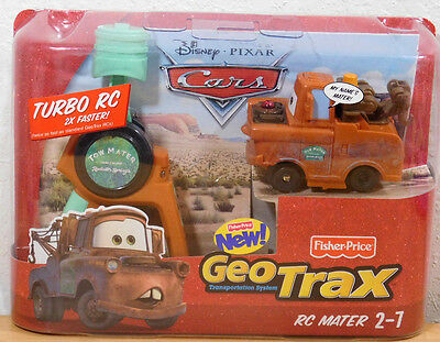 Tow Mater Turbo RC 2X Faster Geotrax CARS Disney Fisher Price 2009 New