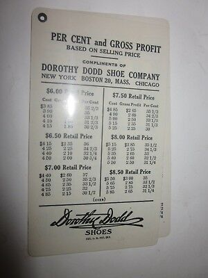 Vintage Dorothy Dodd Shoe Company Boston MA celluloid gross profit percent table