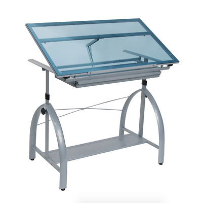 Blue Tempered Glass Architectural Drafting Table, Craft Mechanical Drawing Desk