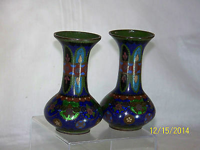 Antique c19th Century c1800s Chinese Muti-Colored Cloisonne Pair of Vases