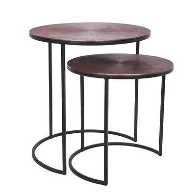Set of 2  Round Copper Antique Black frame lamp table side table texture top