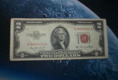 1953 $2 United Staes Red Seal Bill. - very nice - see pics exact bill