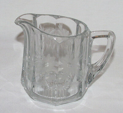 """PERFECT Vintage Heisey """"PEERLESS"""" Etched Cream Pitcher!"""