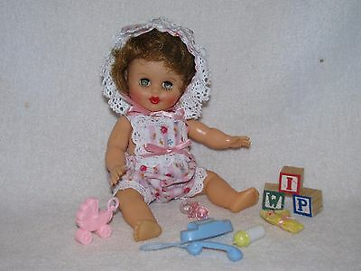 "8"" Vintage Baby Doll By Cosmopolitan Dressed In Sunsuit With Toys"