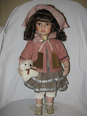 """Large 20"""" Bisque Little Girl Doll With Teddy Bear"""