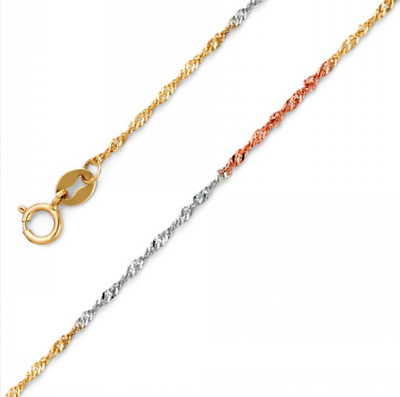 """14K Solid Yellow White Rose Gold Singapore Necklace Chain 1.5mm 16-24"""" - Link"""