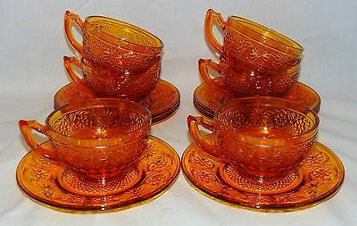 6 Indiana DAISY AMBER *CUPS & SAUCERS*