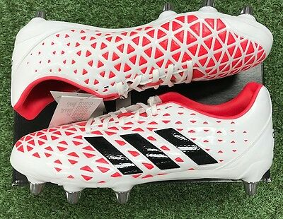 Adidas Kakari Elite Soft Ground Rugby Boots White/Red/Black AQ2057 New in Box
