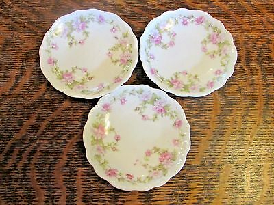 Vintage Butter Pats (3) Pink Rose Swags, Scalloped Edge Design, Haviland?