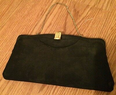 Vintage Black Clutch Evening Purse with Gold Chain and Gold Clasp
