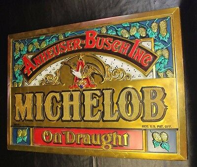 Vintage Michelob Beer On Draught Anheuser Busch Eagle Sign Bar Man Cave Rare