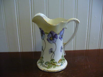 Small Vintage Hand Painted Porcelain Haynes Ware Pansy Motif Pitcher