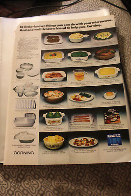 December 1978  Magazine Advertisment Clipping Full Page Corning Cookware