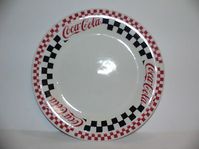 "Coca Cola dinner plates 10 3/4"" by Gibson Housewares red black checks diner 1996"