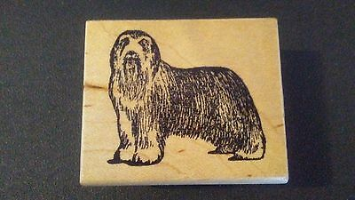 Bearded Collie Dog Breed Mounted Rubber Stamp