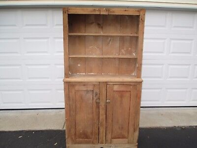 Primitive New England  Step Back Hutch Cabinet, Curved Panel doors