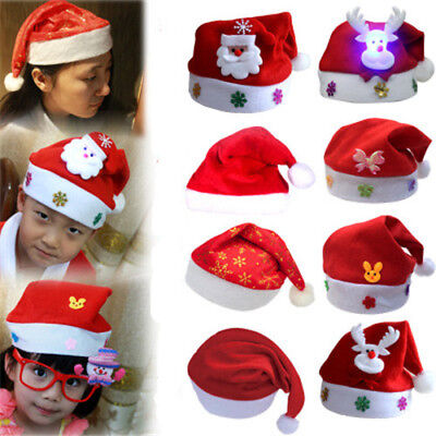 Christmas Hat Kids & Adult LED Santa Claus Reindeer Snowman Xmas Gifts Cap New