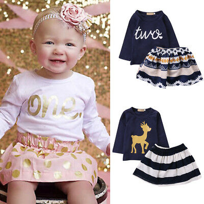 Baby Girls 1st Birthday Party Toddler Kid T Shirt Top Tutu Skirt Clothes Outfits