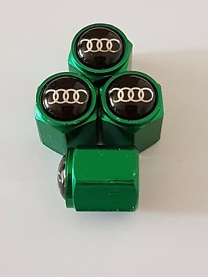 AUDI GREEN Car Wheel Tyre Valve Dust Caps Covers ALL MODELS S LINE RS A1 A2 A3