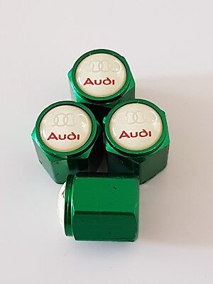 AUDI GREEN Car Wheel Tyre Valve Dust Caps Covers ALL MODELS S LINE RS S5 S6 S7