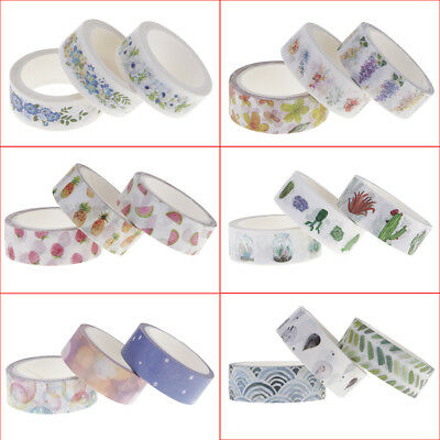 3 pcs Washi Tape DIY Masking Scrapbook Decorative Paper Adhesive Sticker Craft