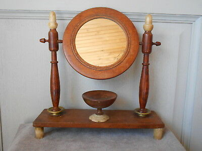 Antique Fabulous French Cherry Wood LADY MIRROR 19th