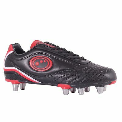 Optimum Mens Tribal Moulded Stud Rugby Boots Black (Black/Red) 10 UK